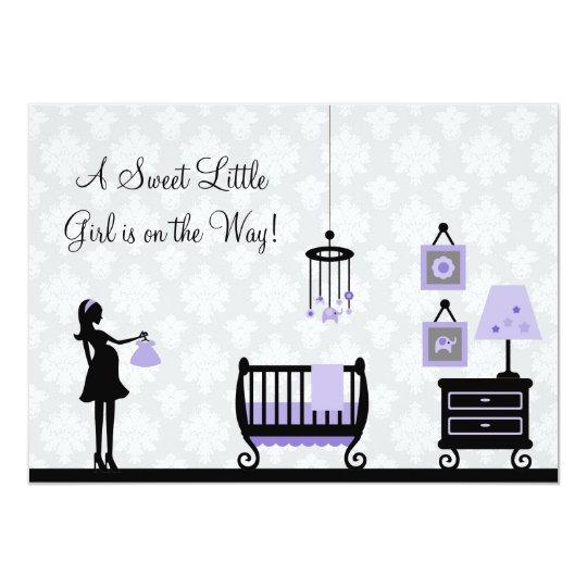 Damask Baby Shower : Purple : Invitation