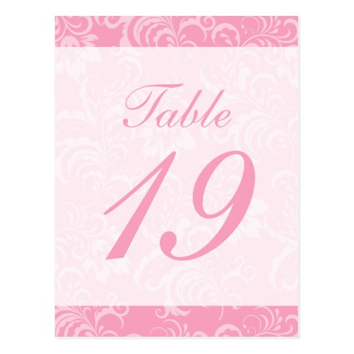 Damask Background Table Number (Pink / White) Post Card