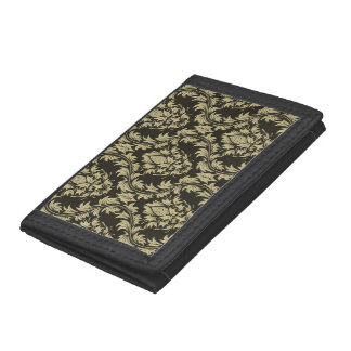 Damask background tri-fold wallets