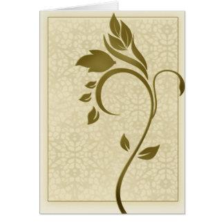 Damask background with gold leaf flower card