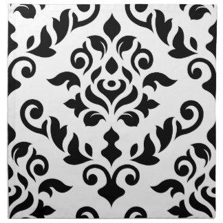 Damask Baroque Design Black on White Napkin