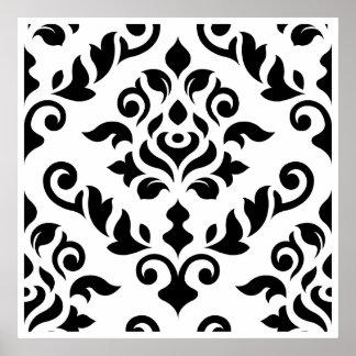 Damask Baroque Design Black on White Poster