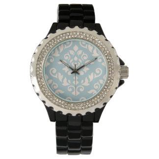 Damask Baroque Design Cream on Blue Watches