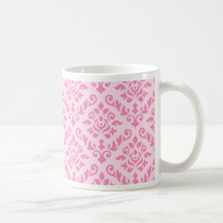 Damask Baroque Design Dark on Light Pink Coffee Mug