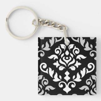 Damask Baroque Design Monochrome Key Ring