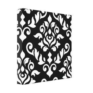 Damask Baroque Design White on Black Canvas Print