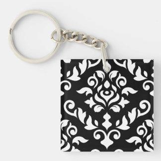 Damask Baroque Design White on Black Key Ring