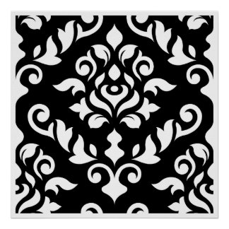 Damask Baroque Design White on Black Poster