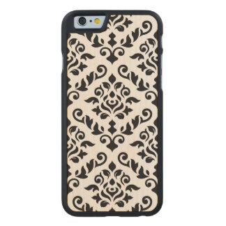 Damask Baroque Large Pattern Black on White Carved Maple iPhone 6 Case