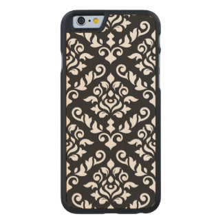 Damask Baroque Large Pattern Black Surround Carved Maple iPhone 6 Case