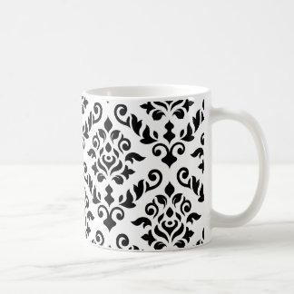 Damask Baroque Pattern Black on White Coffee Mug