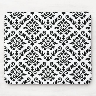 Damask Baroque Pattern Black on White Mouse Mat