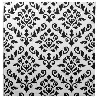 Damask Baroque Pattern Black on White Napkin