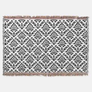 Damask Baroque Pattern Black on White Throw Blanket