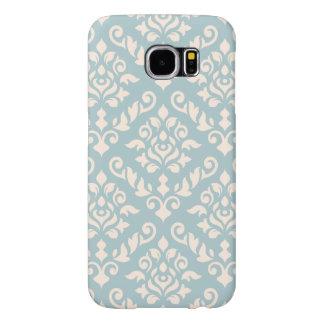 Damask Baroque Pattern Cream on Blue Samsung Galaxy S6 Cases