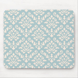 Damask Baroque Pattern Cream on Blue Mouse Pad