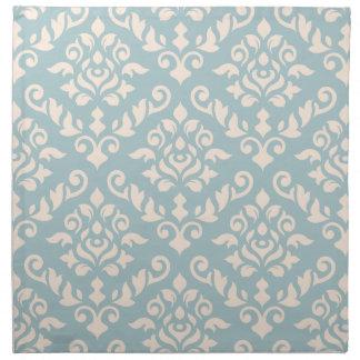 Damask Baroque Pattern Cream on Blue Napkin