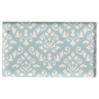 Damask Baroque Pattern Cream on Blue Table Number Holder