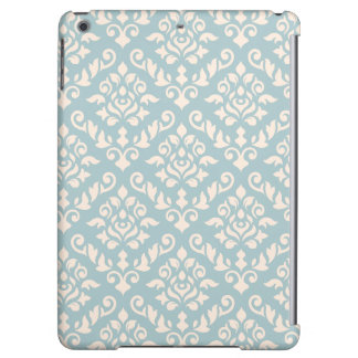 Damask Baroque Pattern Cream on Blue (v)