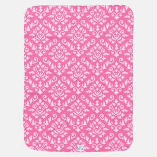 Damask Baroque Pattern Light on Dark Pink Baby Blankets