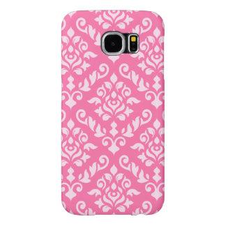 Damask Baroque Pattern Light on Dark Pink Samsung Galaxy S6 Cases