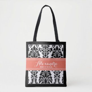 Damask Baroque Pattern Wedding Party Tote (coral)