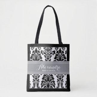 Damask Baroque Pattern Wedding Party Tote (grey)