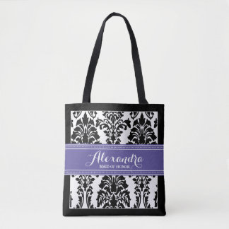 Damask Baroque Pattern Wedding Party Tote (purple)
