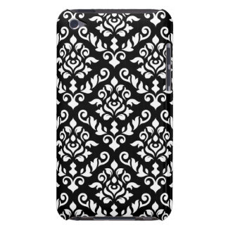Damask Baroque Pattern White on Black Barely There iPod Cover