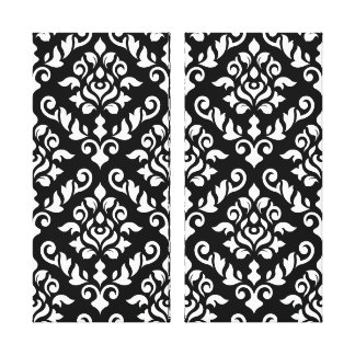 Damask Baroque Pattern White on Black Canvas Print