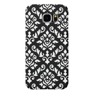 Damask Baroque Pattern White on Black Samsung Galaxy S6 Cases