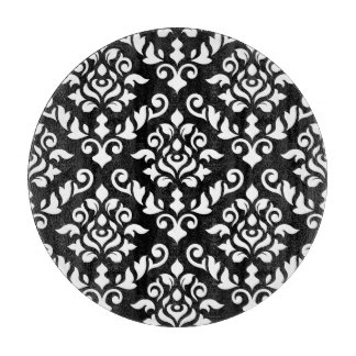 Damask Baroque Pattern White on Black Cutting Board