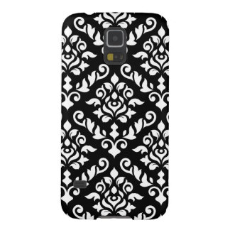 Damask Baroque Pattern White on Black Galaxy S5 Cases