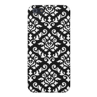 Damask Baroque Pattern White on Black iPhone 5/5S Cases