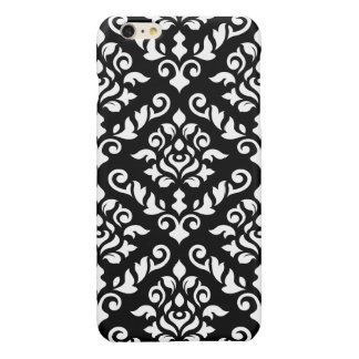 Damask Baroque Pattern White on Black iPhone 6 Plus Case