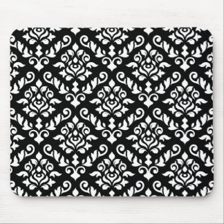 Damask Baroque Pattern White on Black Mouse Mat