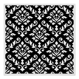 Damask Baroque Pattern White on Black Print
