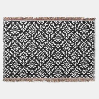Damask Baroque Pattern White on Black Throw Blanket
