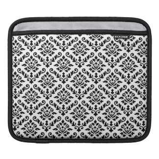 Damask Baroque Repeat Pattern Black on White iPad Sleeve