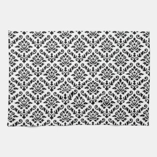 Damask Baroque Repeat Pattern Black on White Tea Towel