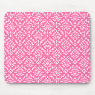 Damask Baroque Repeat Pattern Light on Dark Pink Mouse Mat