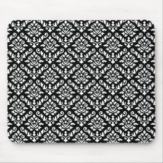Damask Baroque Repeat Pattern White on Black Mouse Mat