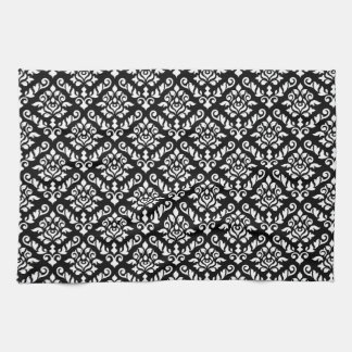 Damask Baroque Repeat Pattern White on Black Tea Towel