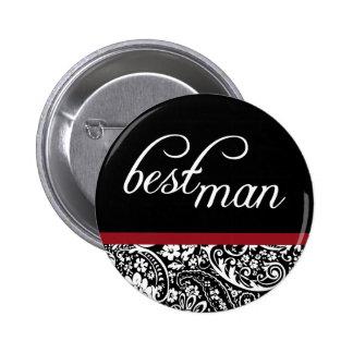 Damask Beauty Best Man Button