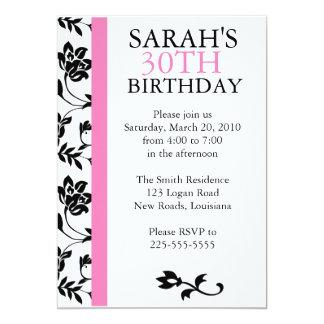 Damask Birthday 13 Cm X 18 Cm Invitation Card