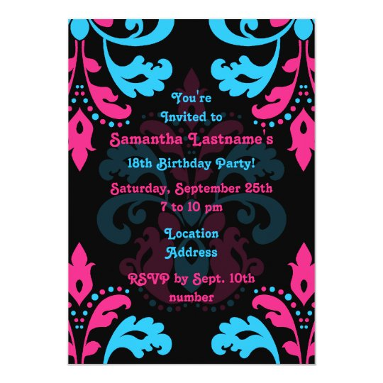 Damask birthday party card