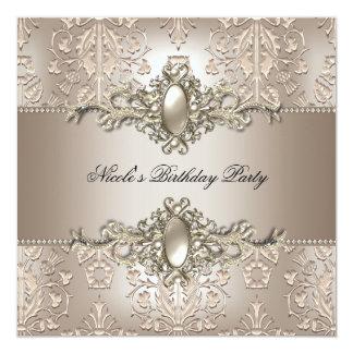 Damask Birthday Party Pearl 2 Cream Coffee 13 Cm X 13 Cm Square Invitation Card