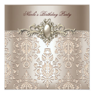 Damask Birthday Party Pearl 3 Cream Coffee 5.25x5.25 Square Paper Invitation Card