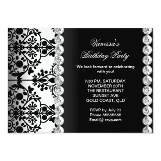 Damask Birthday Party Silver Black White Floral Custom Announcements
