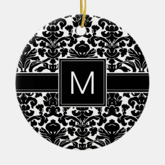 Damask Black and White Pattern with Monogram Christmas Ornament